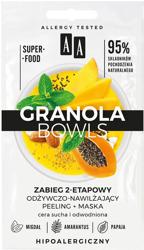 AA Granola Bowls Dwuetapowy zabieg odżywczo-nawilżający peeling+maska 2x4ml
