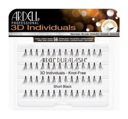 Ardell 3D Individuals Knot Free Short Black - Kępki krótkich rzęs bez węzełków czarne 56 sztuk