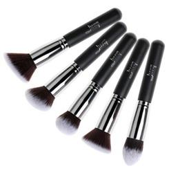 Jessup Brushes Set T063 Zestaw 5 pędzli do makijażu Black/Silver