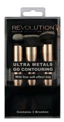 Makeup Revolution Ultra Metals Go Contouring Zestaw 3 pędzli z kosmetyczką