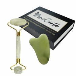 Masażer jadeitowy Zielony BOX Roller + kamień Gua sha