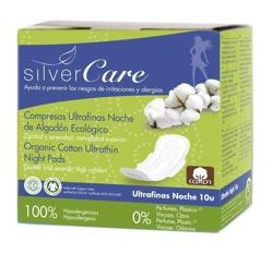 Silver Care Ultracienkie bawełniane podpaski na noc ze skrzydełkami – 100% organicznej bawełny 10szt