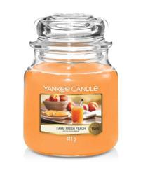 Yankee Candle Świeca zapachowa Słoik średni Farm Fresh Peach 411g