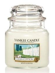 Yankee Candle Świeca zapachowa słoik średni Clean cotton 411g