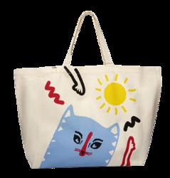 Yope Bawełniana biała torba z kotem, bardzo duża