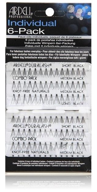 Ardell Individual 6-PACK Combo Duralash Naturals Knot-Free - Zestaw 6 kompletów kępek sztucznych rzęs bez węzełków Czarne