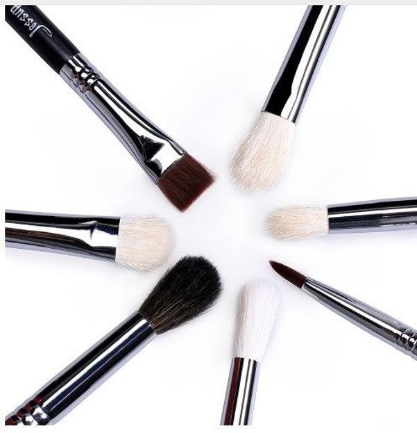 Jessup Pro Zestaw 7 pędzli do makijażu T077 Black/silver