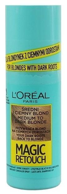 Loreal Magic Retouch Spray na odrosty Średni i ciemny blond 75ml
