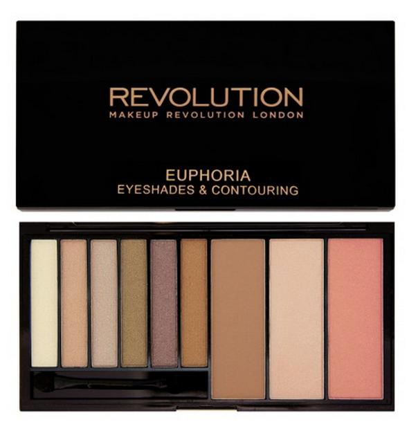 Makeup Revolution Euphoria Eyeshadow & Contour Palette - Paleta cieni do powiek oraz produktów do konturowania Bronzed, 46,8 g