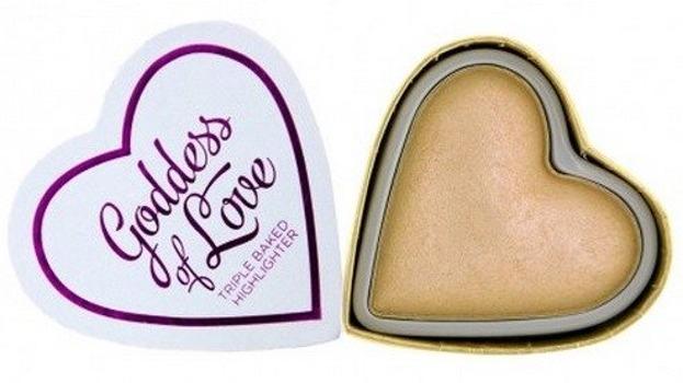 Makeup Revolution I Heart Makeup Blushing Hearts Highlighter - Potrójnie wypiekany rozświetlacz Golden Goddess