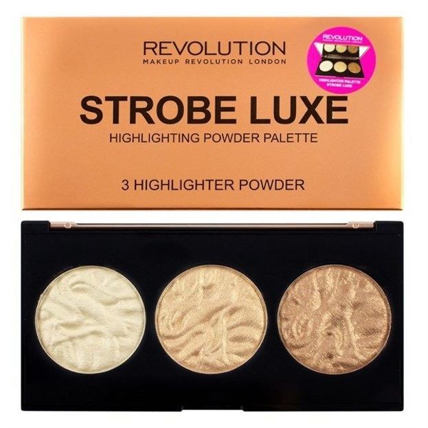 Makeup Revolution Strobe Luxe Palette Paleta 3 rozświetlaczy do twarzy