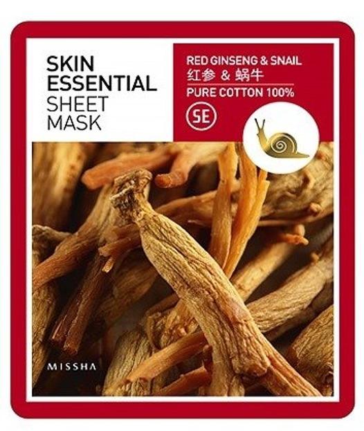 Missha Skin Essentional Red Ginseng Snail Maseczka bawełniania do twarzy