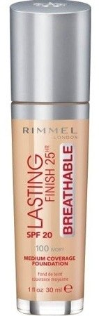 Rimmel Lasting Finish25h BREATHABLE Podkład do twarzy 100 Ivory 30ml