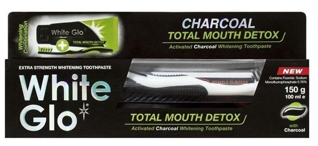 WHITE GLO Total Mouth Detox Wybielająca pasta do zębów z aktywnym węglem 150g